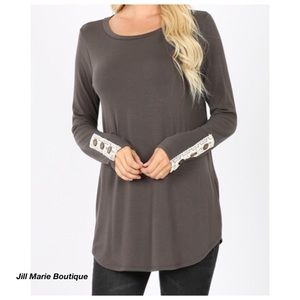 Long sleeve top gray button & lace detail NWT